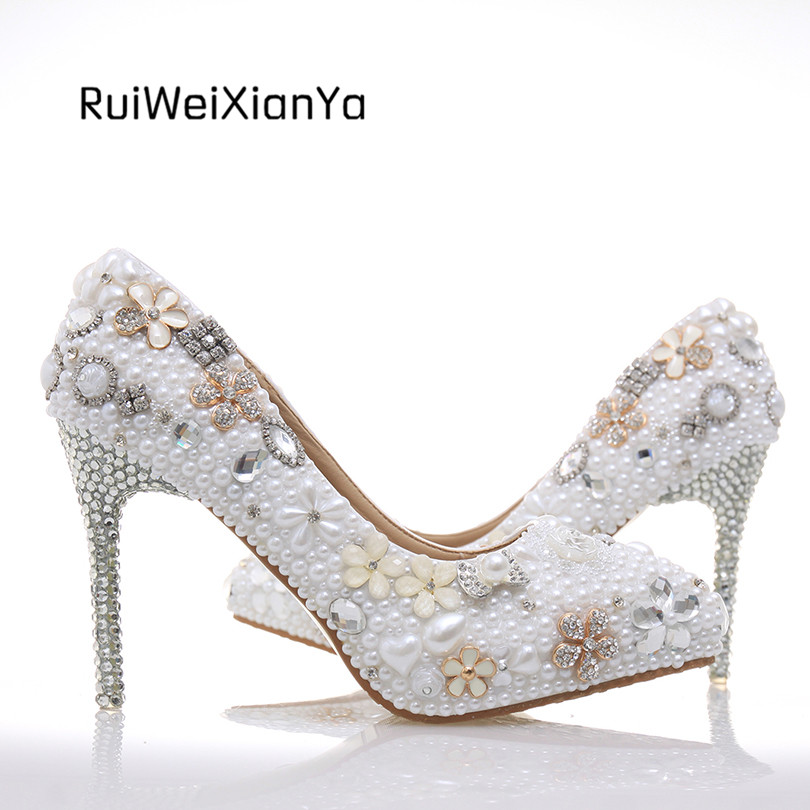 2017 New Fashion Spring Crystal Wedding Shoes White for Bride Single Pointed Toe Shoes Woman Pumps High Heels Plus Size Hot Sale 2017 new fashion spring ladies pointed toe shoes woman flats crystal diamond silver wedding shoes for bridal plus size hot sale
