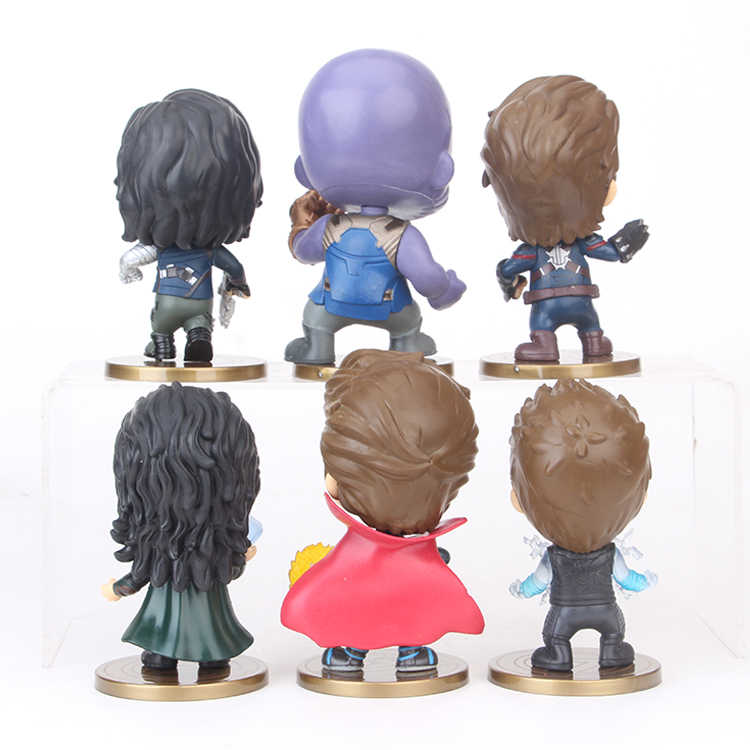 6pcs/lot Marvel Avengers Winter Solider Thanos Loki Thor Doctor Stranger Captain American Figure Model Toys for Children
