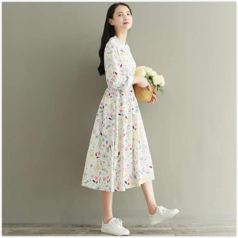 99bf6c7931 ... Sweet Spring Autumn Women Elegant Dress Stand Collar Floral Print  Casual Female Vestidos Full Sleeve Corduroy