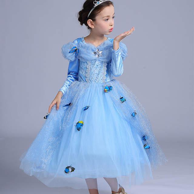 4ef0370a8f08 ABGMEDR Brand Cinderella Dress Winter Girls Dresses Children Christmas  Clothing Monsoon Kids Dress Warm Cloak Butterfly