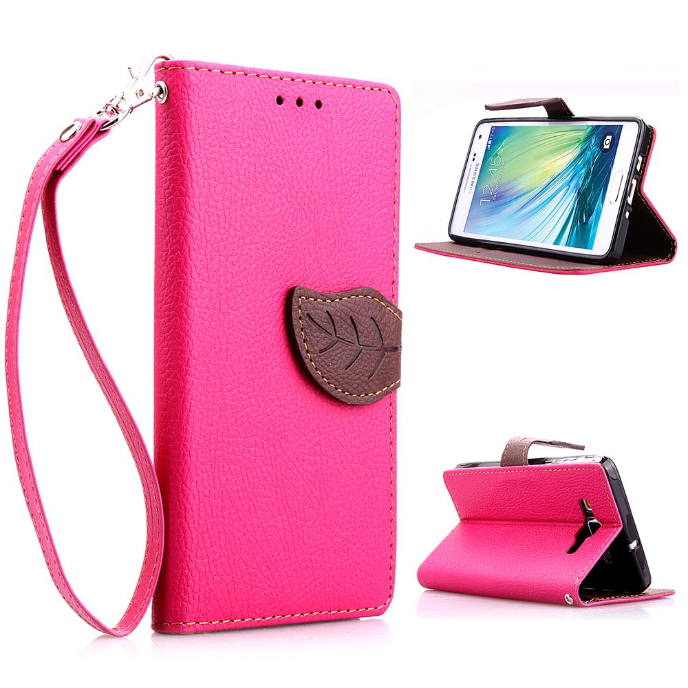 For Samsung A3 Leather Case Leaf Buckle Litchi Leather Wallet Phone Case for Samsung Galaxy A3 - FREE SHIPPING