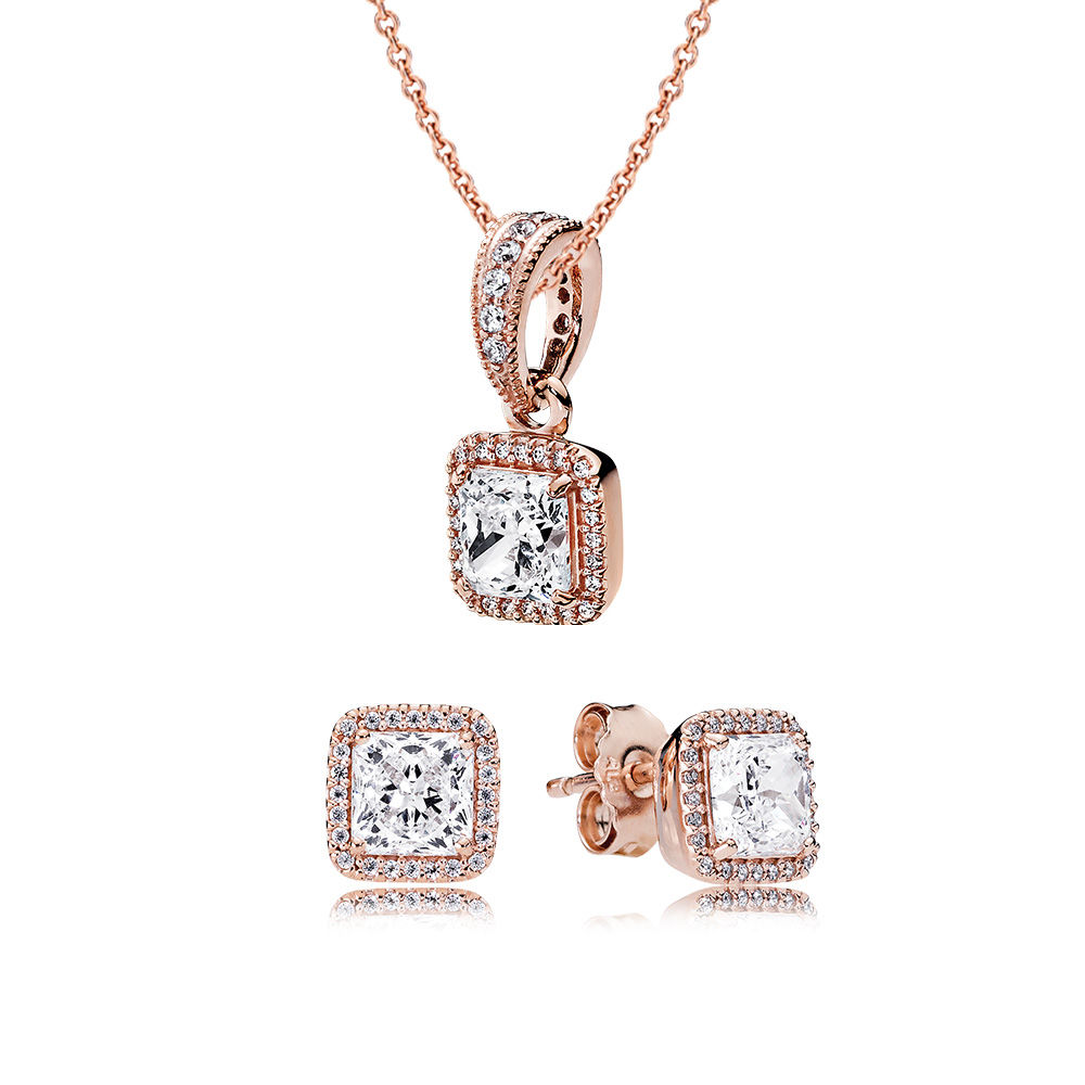 100% 925 Sterling Silver Rose Timeless Elegance Gift Set Fit Charm Original Necklace Women Jewelry Two Pieces of set