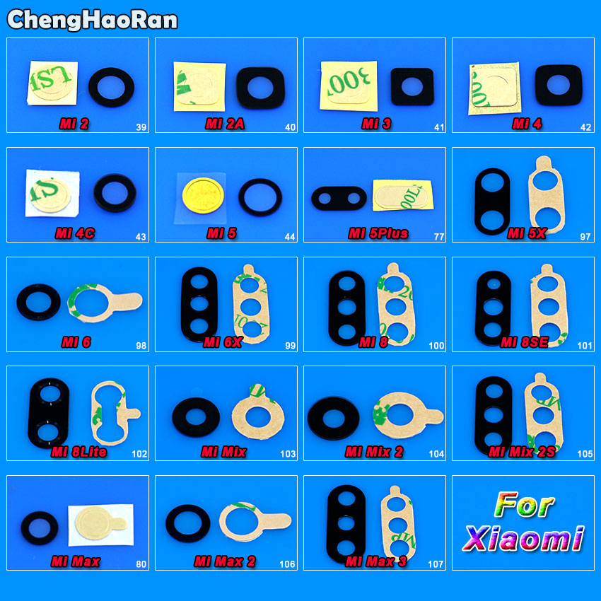 ChengHaoRan for <font><b>Xiaomi</b></font> <font><b>Mi</b></font> 4 4C <font><b>5</b></font> Plus 5X 6 6X 8 Lite 8SE Mix 2s Max 2 3 Rear Back <font><b>Camera</b></font> Glass Lens Cover with Adhesive Sticker image