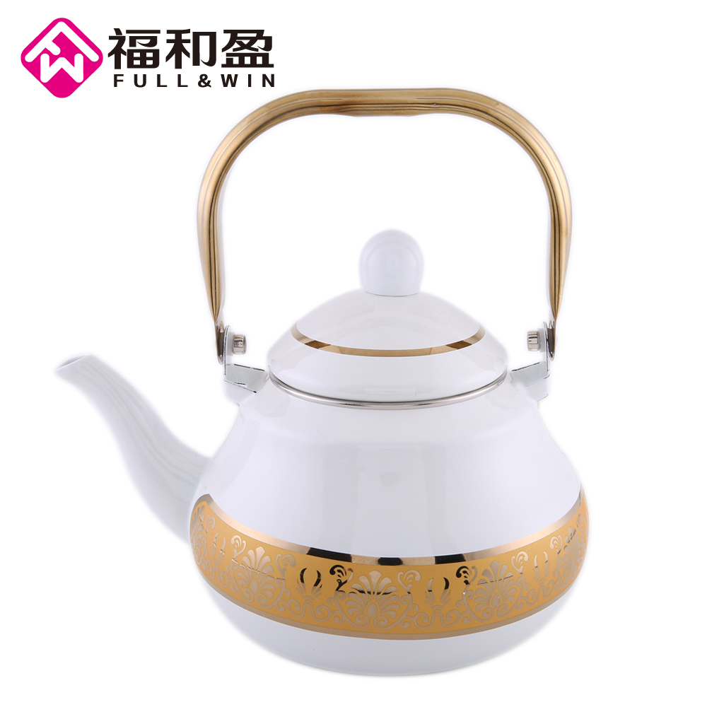 2 0L Golden White Enamel Pot Traditional Chinese Tea pot Pear shaped pot Thickened Water Kettle