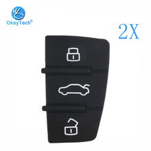 OkeyTech 3 Button Replacement Repair Skin Flip Folding Car Key Shell Case Rubber Pad For Audi A3 A4 A5 A6 A8 Q5 Q7 TT S LINE RS