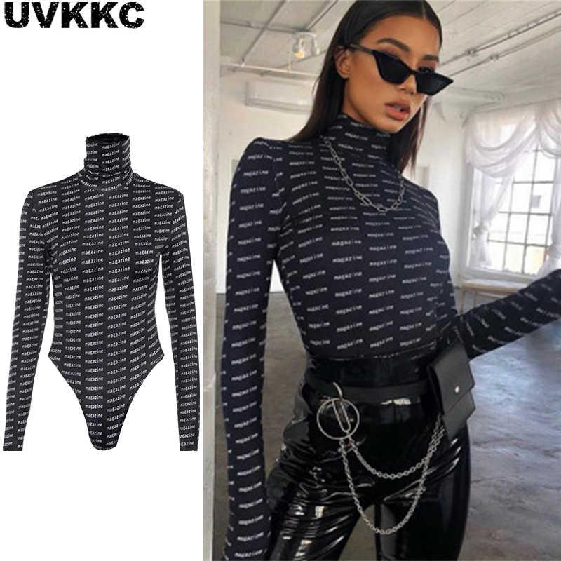 Uvkkc Women Bodysuits 2019 Spring Fashion Female Romper Print Letter  TurtleNeck Thin Long Sleeve Casual Black 5e587af086d8