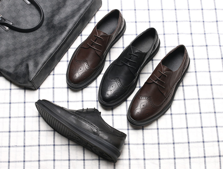 Moda De Homens Preto Shoes Vestido Inglaterra Dos Business Casual Flat Nova Primavera Grátis Masculinos Esculpido marrom Sapatos Masculino Estilo Frete Ux4wqg