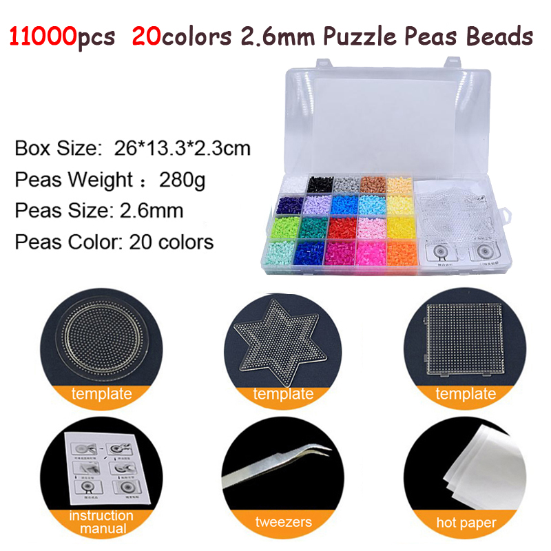 11000pcs/set 20Color Hama Beads 2.6mm DIY Pegboard Tool Tweezer Puzzle Peas Beads Board Colors Puzzle Toys For Children DOLLRYGA