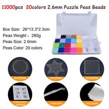 11000pcs/set 20Color Hama Beads 2.6mm DIY Pegboard Tool Tweezer Puzzle Peas Board Colors Toys for Children DOLLRYGA