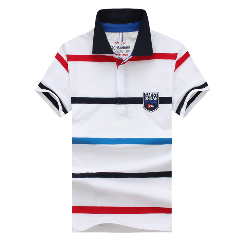 Polo   shirt men's new short-sleeved cotton business casual   polo   shirt summer large size fashion striped print   polo   shirtS-5XL