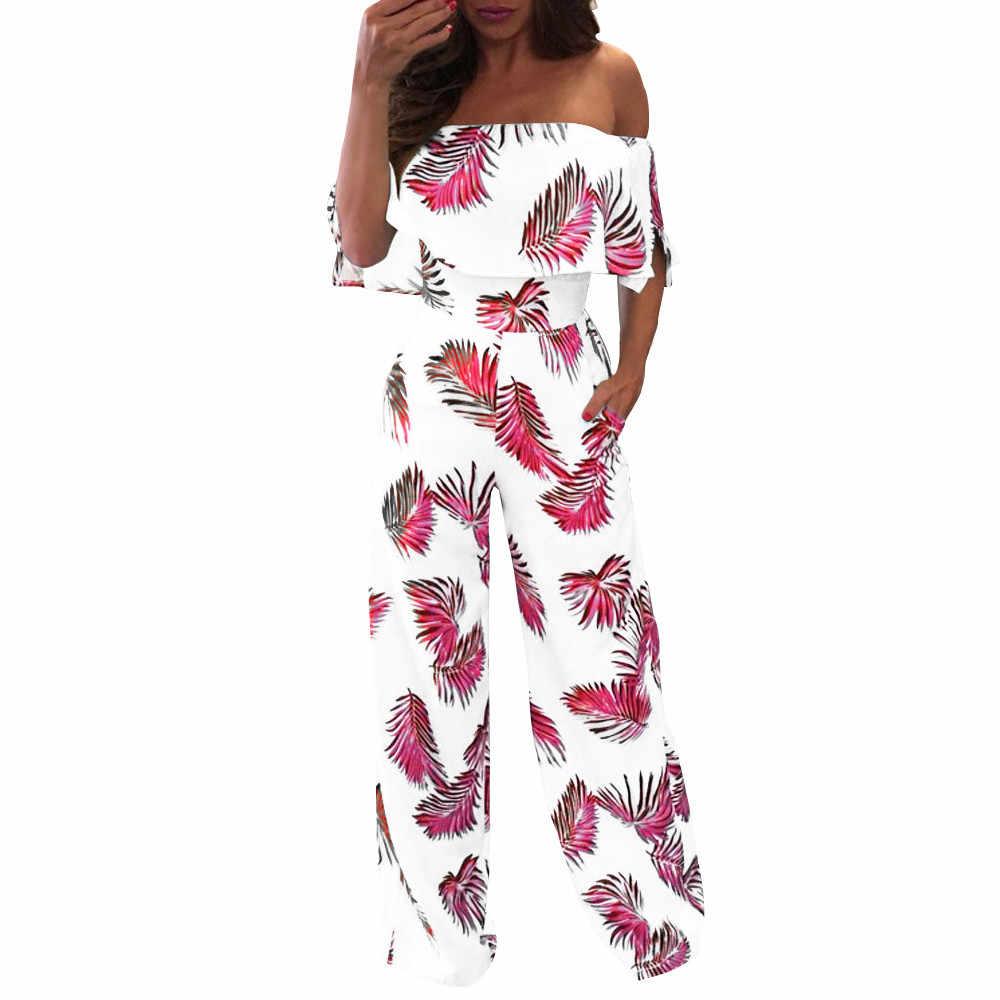 2019 maxiorill Новый Для женщин Повседневное с открытыми плечами с цветочным принтом к требованиям заказчика; сверкающие; без застёжки, пончо Свободный комбинезон самские брюки оптовая продажа T3