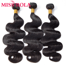 Miss Rola Hair Peruvian Body Wave 3 Bundles Natural Color 8-26 Inchs 100% Human Extension Non-Remy Weaving