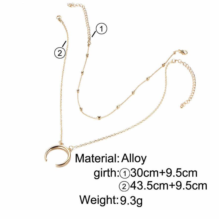 Élégant Bar nouveau or/argent Double corne collier croissant de lune pendentif à breloque chaîne en or livraison directe #0411