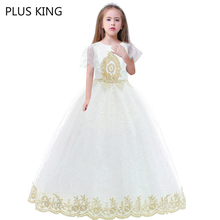 лучшая цена New Elegant White Dress Girls Short Sleeves for 5 To 14 Years Old Girl Princess Dresses