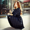 Dabuwawa casaco feminino longo das mulheres coreano moda casual xadrez trincheira boneca rosa