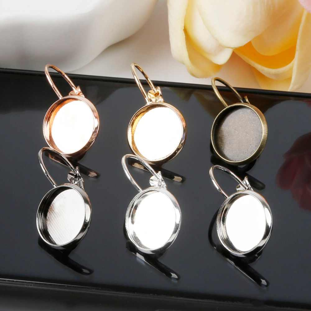 10pcs Blank Earring Base Metal Cabochon Settings Cameo Tray for Women DIY Jewelry Accessories Dia 14mm*12mm