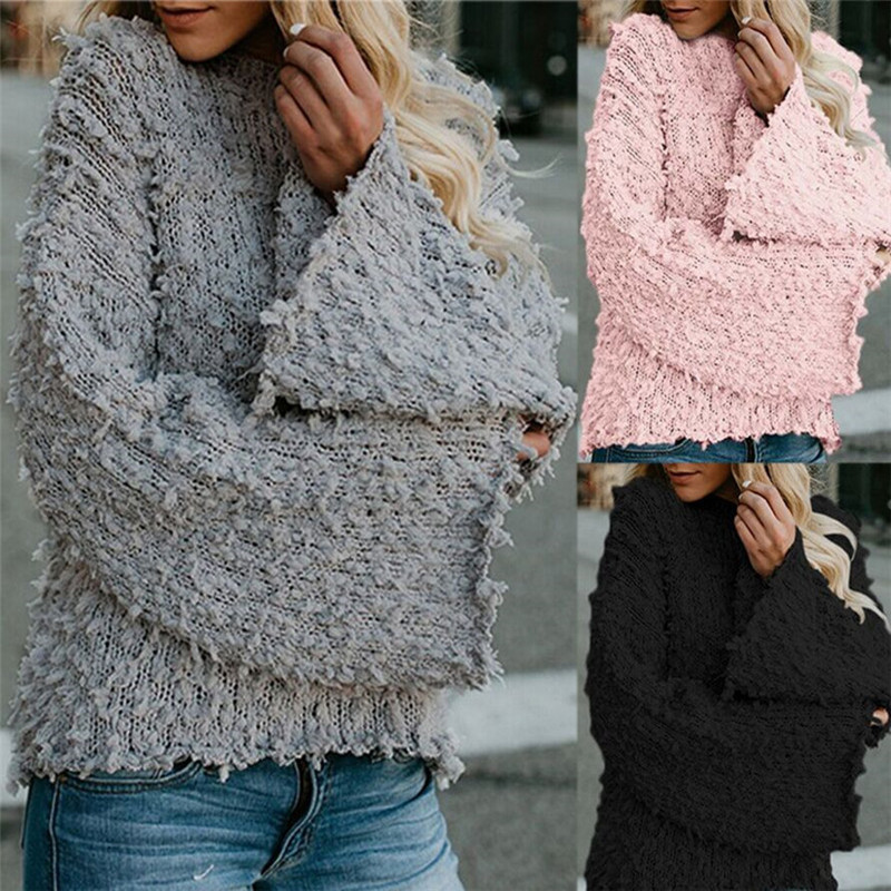 2019  autumn winter hot sale cute women sweaters computer knitted solid comfortable cute pullover O-neck female sweaters