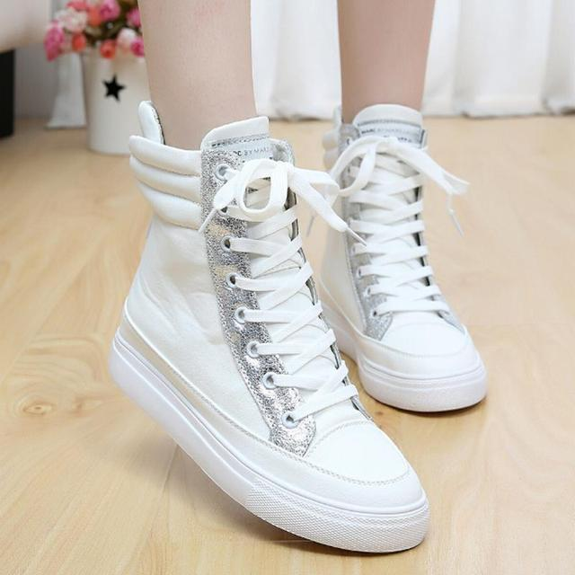 29094986fce0c7 2016 New Spring Korean High Top Platform Wedges Height Increasing Casual  Shoes Women Lace Up Leather