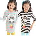 2016 roupa Nova primavera meninas T-shirt de mangas compridas crianças T-shirt longo da bottoming Parte Superior da camisa da listra para girs tees
