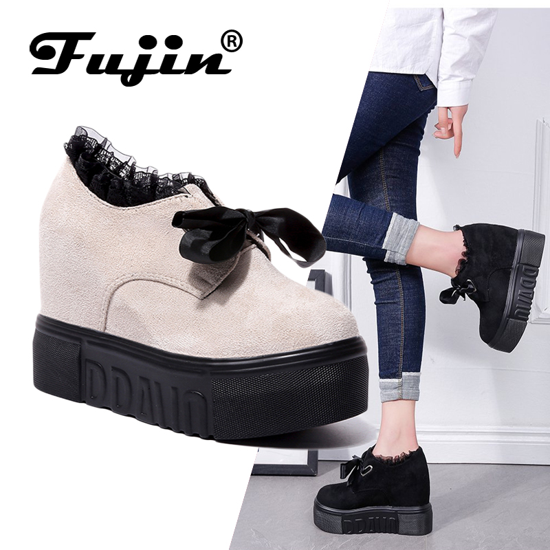 Fujin Casual Shoes Low Top Thick Bottom Heightening Shoes Dropshipping Platform Shoes Riband Lotus Leaf Overheight With