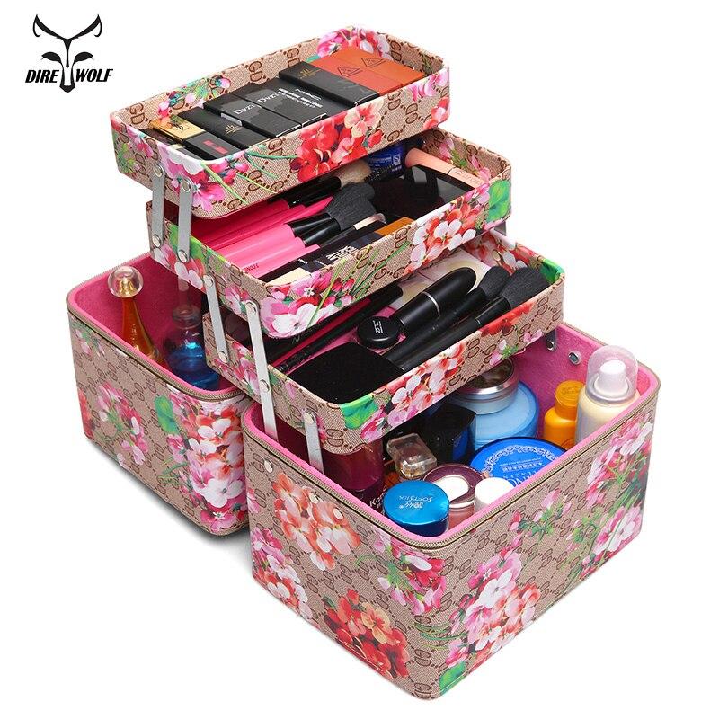 Fashion Flower Printed Women Cosmetic Box Designer High Quality Portable PU Cosmetic Bag Large Capacity Women Makeup Dedicated