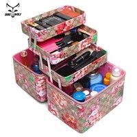 Fashion Flower Printed Women Cosmetic Box Designer High Quality Portable PU Cosmetic Bag Large Capacity Women