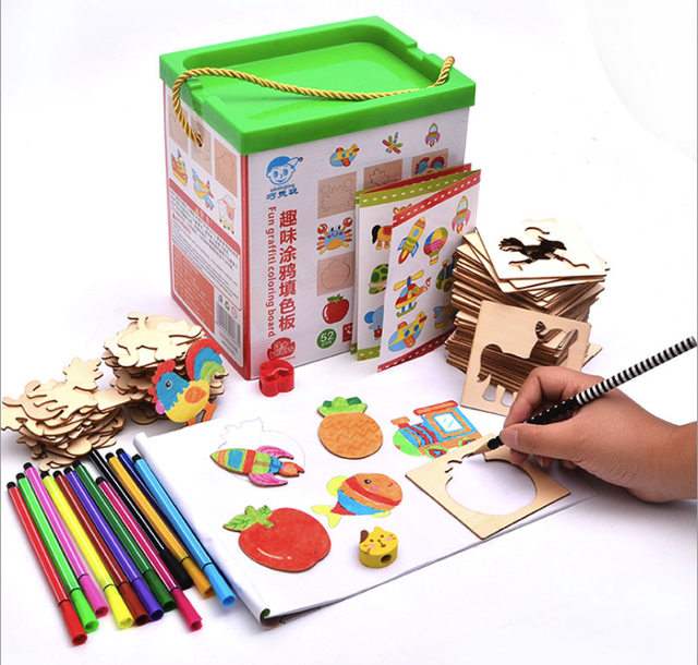 Drawing Toys Set Graffiti Coloring Wooden Board Learning Education ...