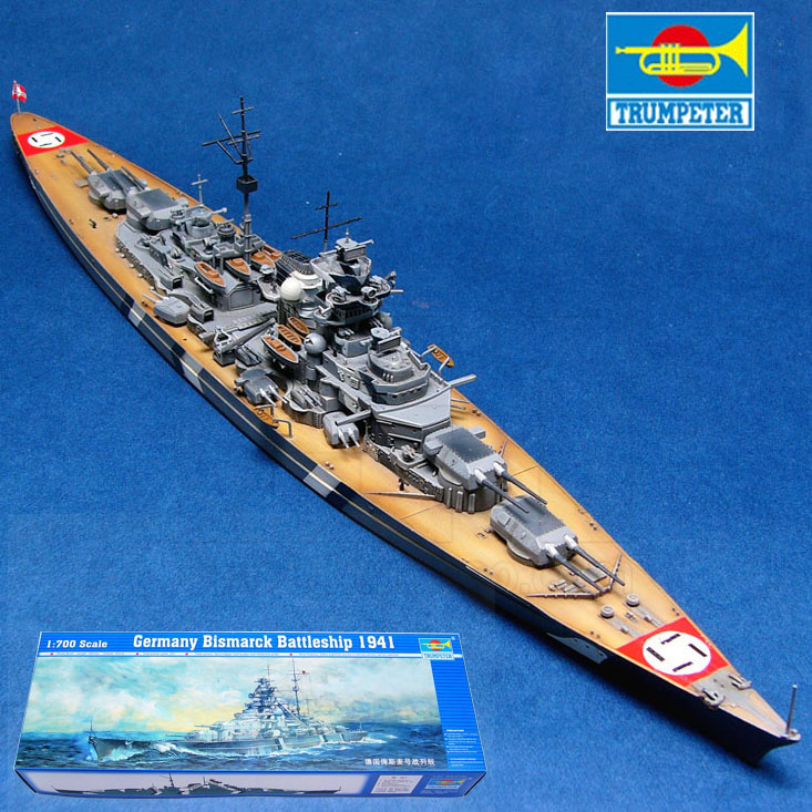 Assembled 1 700 German Warship Bismarck Battleship Model Free Shipping