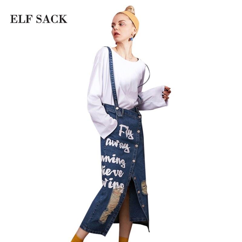 Эльф SACK Для женщин Джинсовые юбки Микси письмо печать Для женщин s отверстие промывают джинсовые прямые юбки женский ремень Длинная юбка се...