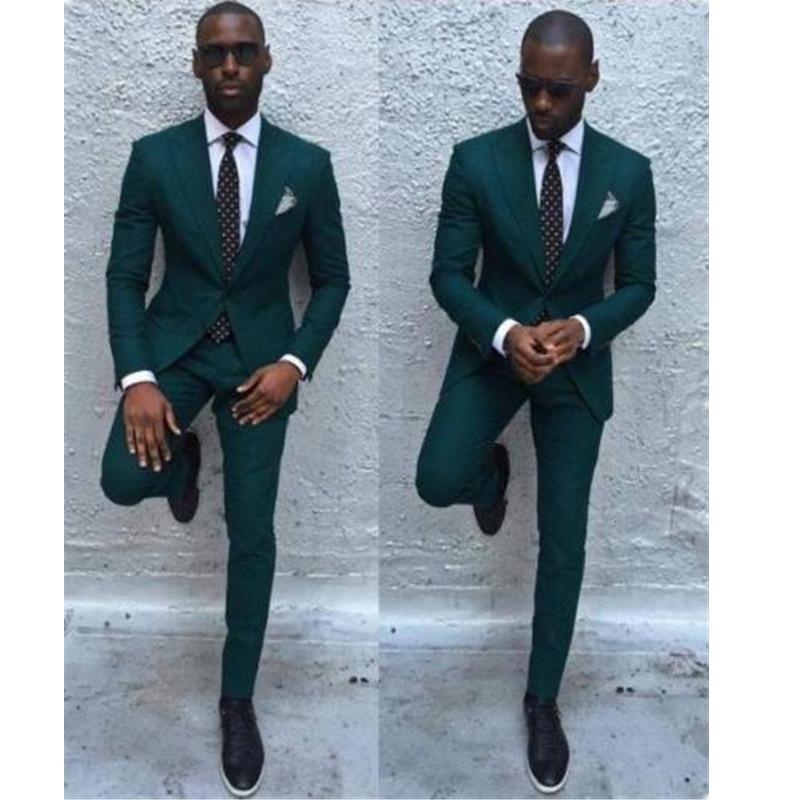 62-1  New Dark Green Men Suits Formal Business Tuxedos Men Wedding Suit Jacket+Pants
