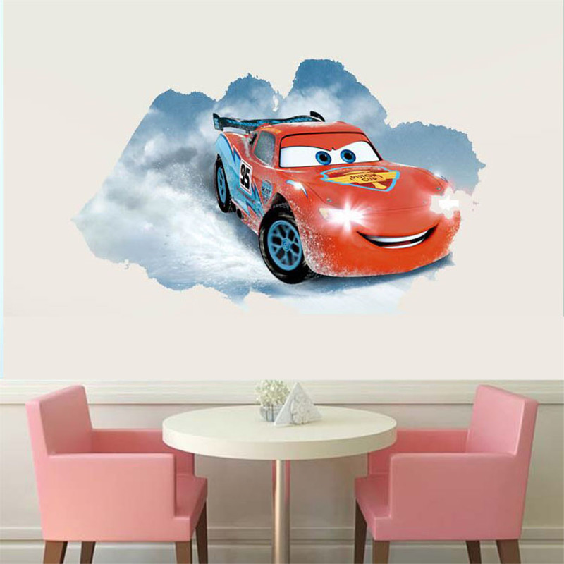 Lightning mcqueen cars wall wall sticker removable for Amazing race car wall decals