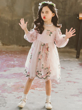 New Spring Cute Kids Floral Printed Long Sleeve Dress For Girls Clothing