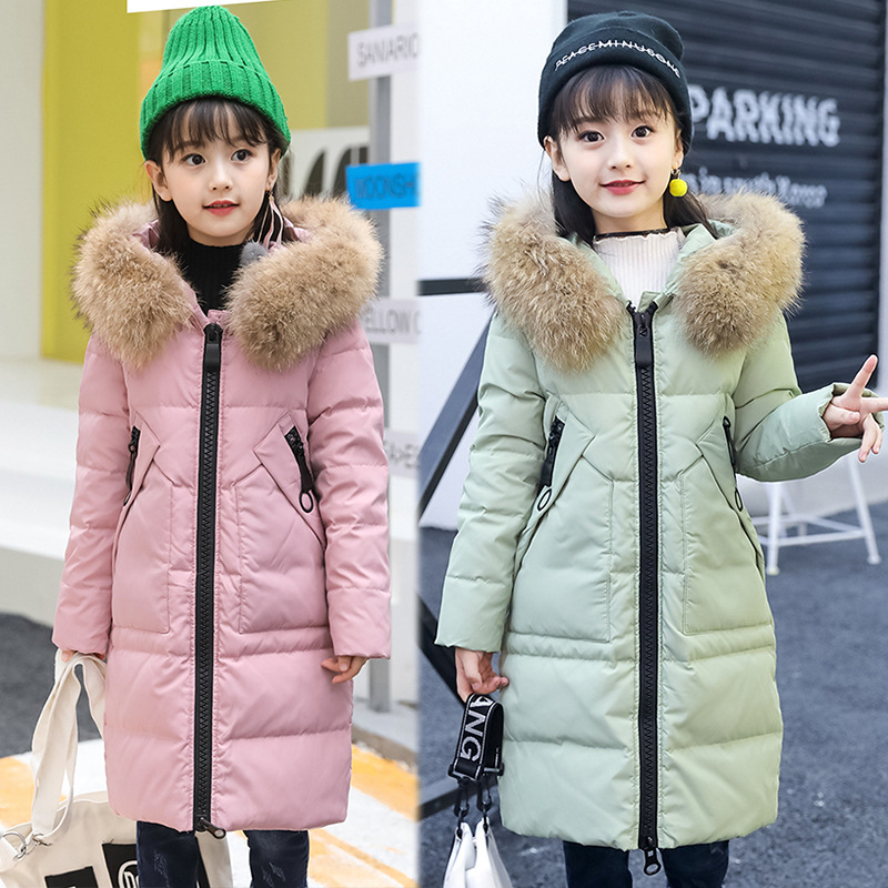 Girls Big Fur Hooded Solid Color Long White Duck Fur Winter Down Coats Big Girls 6-14 Years Extreme Cold Winter Down JacketsGirls Big Fur Hooded Solid Color Long White Duck Fur Winter Down Coats Big Girls 6-14 Years Extreme Cold Winter Down Jackets