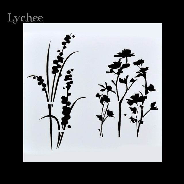 DIY Grass Flower Layering Stencils Masking Spray Painted Template Walls Painting Scrapbooking Decorative Embossing Paper Cards