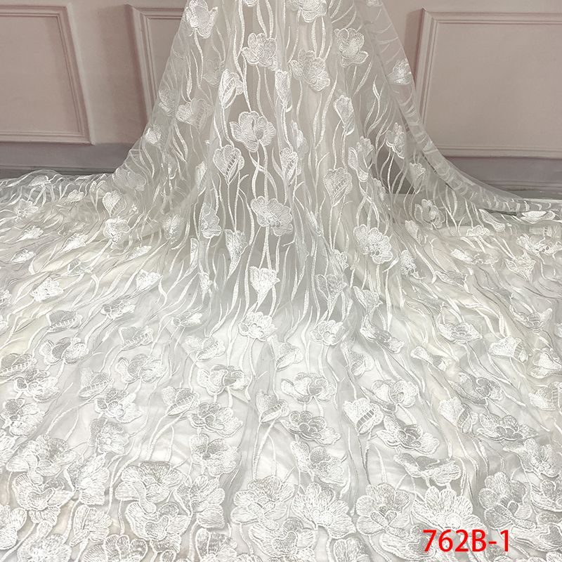 African Lace With Embroidery Stones, 2019 High Quality Tulle Lace Fabric, Nigerian French Fabric Laces For Dress White KS762B-1
