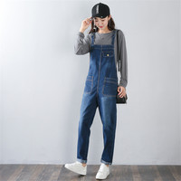 New Denim Rompers Spring Autumn Plus size 5XL solid Pocket Loose Bib Pants Women Jumpsuits Jeans Trousers Strap can be adjusted