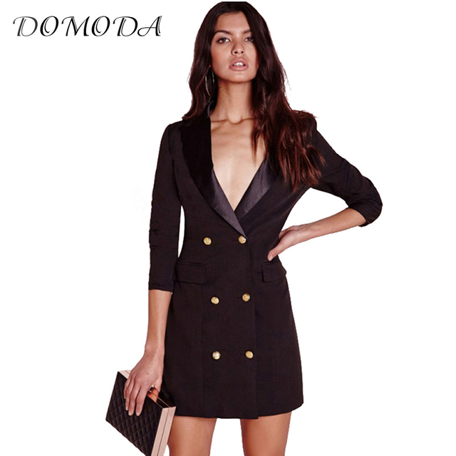 87aa814abbd DOMODA Apparel Black Sexy Brief Women Blazer Dress Autumn Double Breasted  Chic Female Dress Office Casual Slim Basic Vestidos
