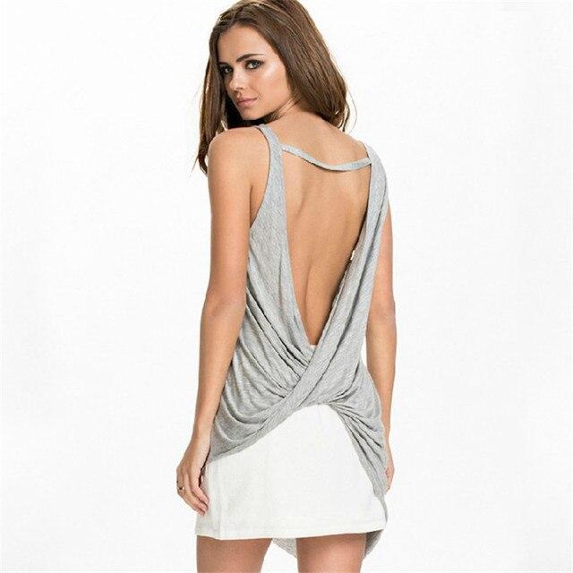Sexy Asymmetric dress,back cross backless dress,summer women ...