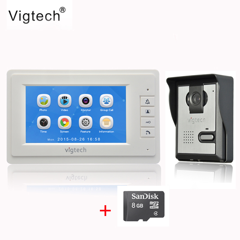 Vigtech7 inch LCD Video Doorbell Door phone Record Intercom System  Infrared Night Vision Camera 8GB TF Card FREE SHIPPING diysecur 7 inch color lcd display video door phone enter intercom doorbell card key rfid reader led night vision camera 1v4