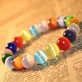 Crystal Bracelet Cat Eye Stone Bracelet 10MM Round Beads Semi Precious Stone Jewelry for Women
