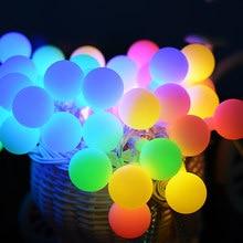 Guirnalda con luces redondas alimentadas por energía Solar, luz de Navidad de 7M, iluminación de Patio para el hogar, césped y jardín, decoraciones para fiestas