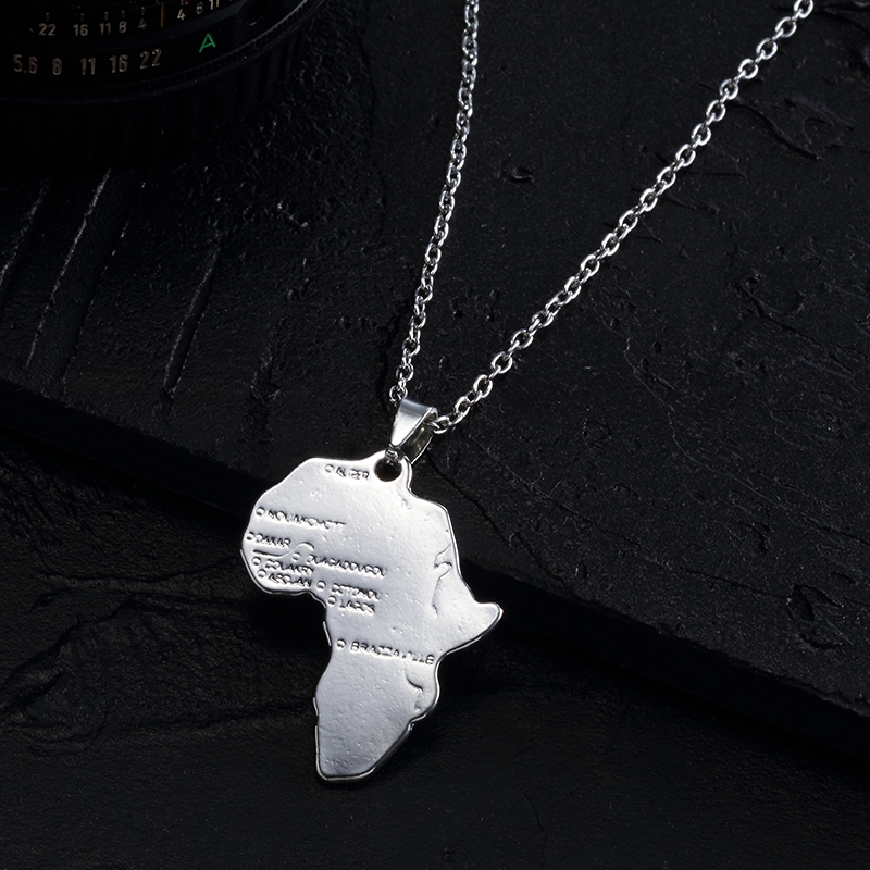 ZRM Мода хип хоп Шарм африканские ювелирные изделия для женщин/мужчин подарок Мода кулон Карта Африки ожерелье 30 мм* 37 мм