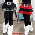 Retail Kids Brand Pants 2016 New Girls Casual Solid Thick Velvet Princess Skirt Leggings Winter Baby Skirt-pants With belt