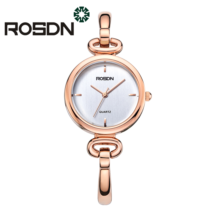 купить Women Watches Top Brand Luxury Quartz Watch Women Dress wrist watch ROSDN Rose Gold Bracelet Watches gift set relogio feminino по цене 6799.07 рублей