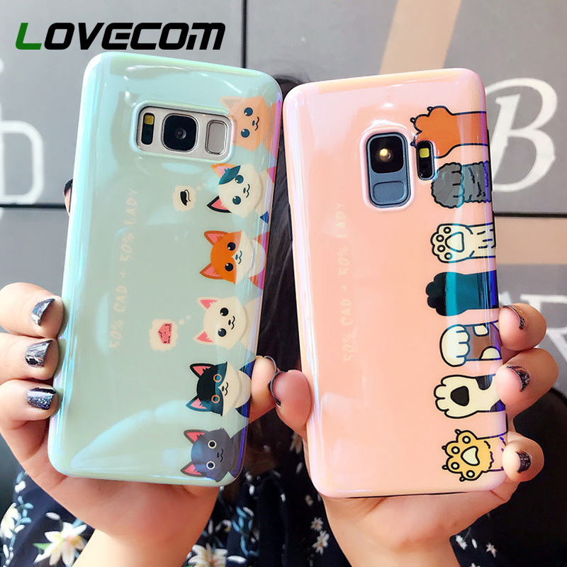 low priced d5f2f 08388 Blu-Ray Phone Samsung Galaxy S7 Edge S8 S9 Plus Note 8 9 Cute Laser Cat  Claw Soft IMD Phone Back Cover Case