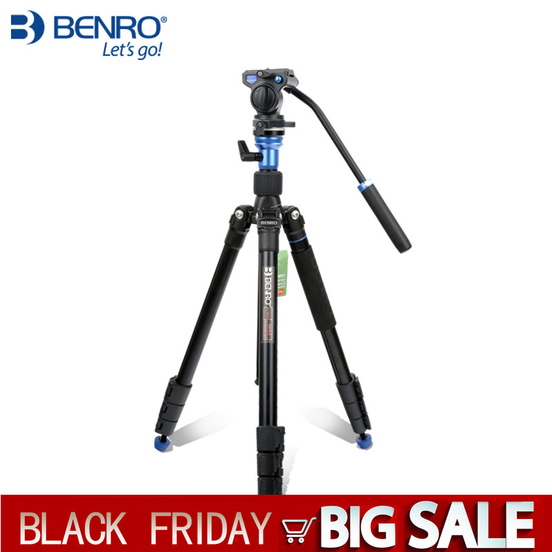 BENRO Tripod Kit Aero 2 A1883fS2c Professional Aluminum Tripod For Video Camera 3D Fluid Head Videotape Dual use-in Tripods from Consumer Electronics    1