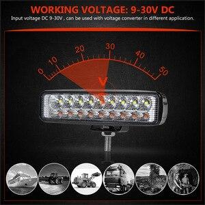 Image 2 - Double Color 6 18W Slim LED Light Bar White Amber 12V 24V headlights Beam Work Light for UAZ 4x4 Car Moto ATV UTV DRL offroad