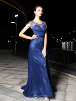 JaneVini 2019 Navy Blue Crysta Godmother Dresses for Mother Of the Bride Dresses Long Train Beaded Dubai Robe Party Evening Gown