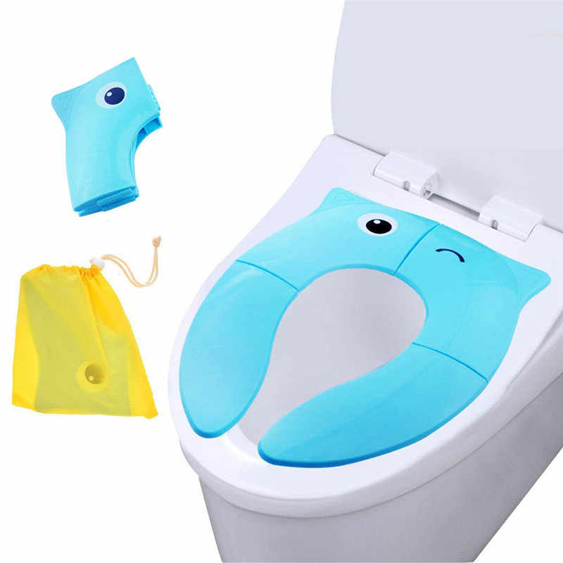 Potty Seat Cover Foldable Potty Training Seat Baby Travel Toilet Potty Seat Covers Non Slip Pads Healthy Round Toilet Mat 2019