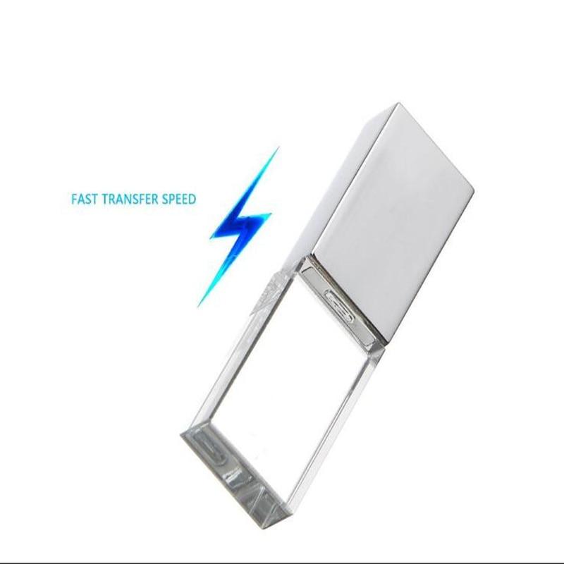 Custom DIY LOGO Waterproof Fast Speed Crystal Silver Metal Lid USB 2.0 Memory Flash Stick Pen Drive